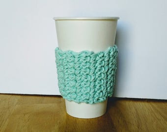 Blue Green Spring color tones Cup Cozy Mother's day gift Cup Sleeve, Crochet Coffee Sleeve, Reusable Coffee Cozy, Eco friendly cup cozy