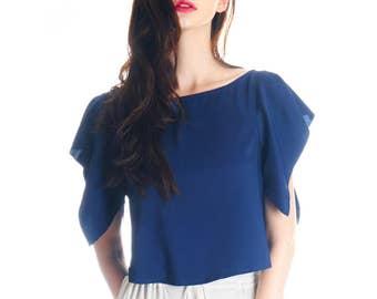 Lolita Silk Shirt Crop Top Women Pajamas Sleepwear Vest Top* Grey Blue