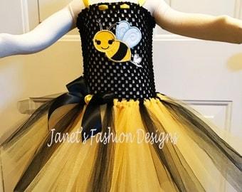 Bumble Bee Tutu Dress - Birthday Outfit Girls- Fashion Tutu Dress - Bumble Bee Embroidery - Yellow & Black Tutu Dress