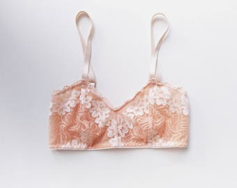 Limited-Edition THEODORA Princess Bra in Peach Lily, Handmade to Order