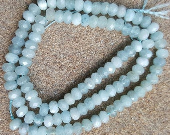 "Faceted Abacus/Rondelle 5mm x 3mm Top Quality Natural Aquamarine Gemstone Beads - 15.5"" Strand"