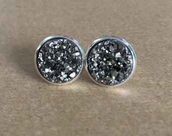 Dark Silver Druzy Stud Earrings, Faux Silver Druzy Earrings, Druzy Earrings