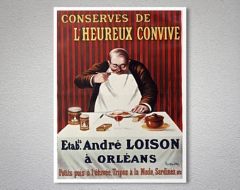 Conserves de  L'Heurex Convive Vintage Food&Drink Poster - Poster,  Sticker or Canvas Print / Gift Idea