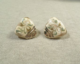 Made In USA! Beautiful Vintage Gold Tone Pair Of Glittered Swirl Enamel Clip On Earrings Signed USA, 1960's  DL# 4883