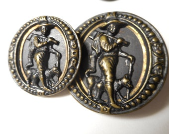 "2 Large Med Woodsman w/ Dog & Axe Brass Antique Button 1-1/2"" Mother Daughter VK"