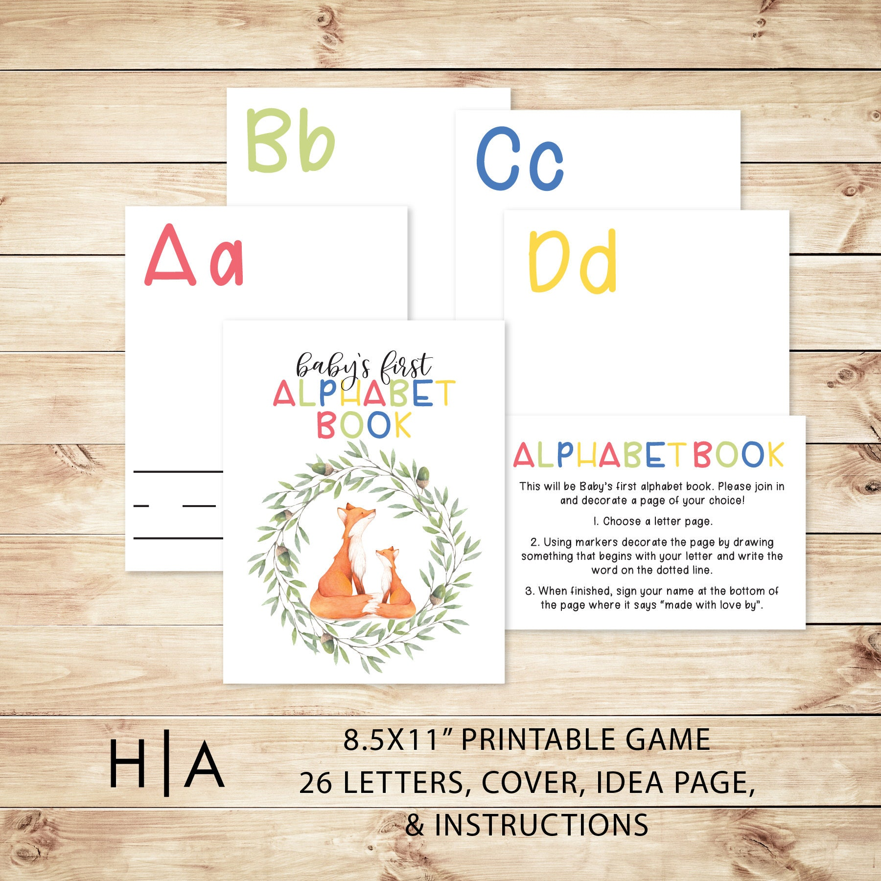 Alphabet Game Baby Shower DIY ABC Book 8.5x11 Baby's