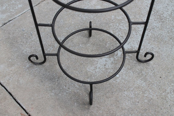 Large 23 Wrought Iron 3 Tier Pie Stand Server Or Plate