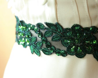 Emerald Green Lace Bridal Sash with Beads