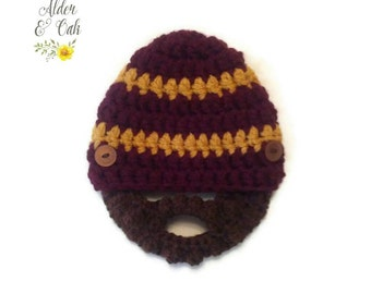 Ready to ship! Baby beard beanie (0-3 months size) (baby beard hat) (Beard beanie) (Bearded baby hat)