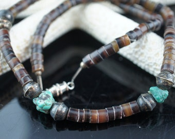 Vintage Necklace Chain with brown green  Bead  sterling silver Beads turquoise Native American Navajo  x196
