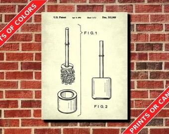 Bathroom Decor, Toilet Brush Patent Print, Bathroom Poster, Bathroom Wall Art, Toilet Brush Blueprint