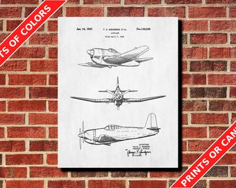Airplane Decor, Airplane Blueprint, Airplane Room Decor, Vintage Aircraft Design Poster, Aviation Blueprint, Flying Decor, Pilot Gift