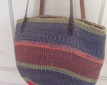 Vintage sisal /jute market bag - tote bag - carry all