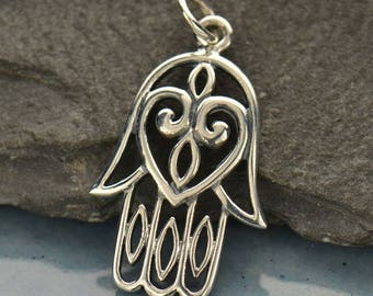 Sterling Silver Hamsa Hand Charm Pendant. Hamsa with Heart Charm.