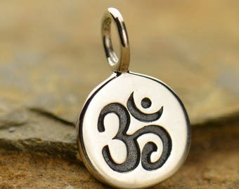Sterling Silver or Bronze Om Disc Charm. Tiny Ohm Charm. Round Om Pendant.