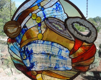 """stained glass window hanging""""OUTSIDE THE BOX"""" hand blown antique glass, handpoured & rolled drapery glass,Brazilian agates,hand poured glass"""