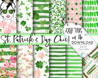 watercolor st patricks day digital paper watercolor st patrick's day paper pack watercolor shamrock papers watercolor clovers paper pack