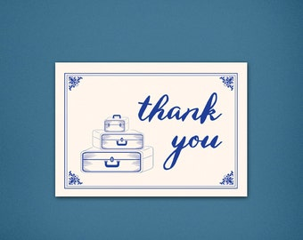 Vintage Traveler Thank You • Luggage Thank You • Thank You Card • Unique Thank You Card • Vintage • Blue • Vintage Thank you • Calligraphy