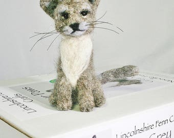Grey Cat Felting Kit - Cat Needle Felting Kit -kitten felting kit - Gift for cat lovers