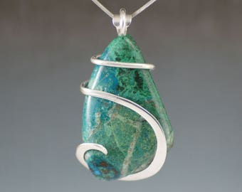 Large Chrysocolla Cold Forged Sterling Silver Pendant