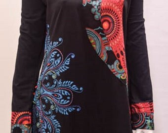 funky hippy boho patchwork psychedelic floral tunic cotton dress black XXL 12 14