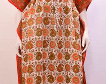 Plus Size Ethnic Paisley Floral Abstract Print Long Kaftan Dress Red 30