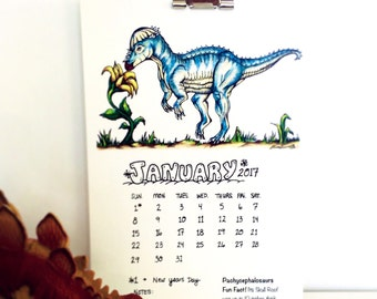 SALE!! Hand-Drawn 2017 Dinosaur Calendar for a dino lover's Desk, Wall, Fridge, etc. Featuring 12 Different Dino Drawings and Painti