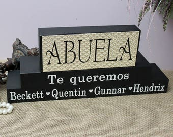Mothers Day Gift for Abuela, Personalised Abuela Block, Spanish Grandmother Gift, Abuela Birthday Gift, Decor Blocks, Gift from Grandkids