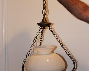 Vintage Hobnail Milk Glass Hanging Brass Lamp