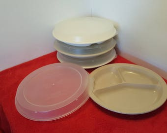 vintage anchor hocking microwave and oven set of 4 / divider plates with lids / PM486-T1