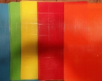 lot of 16 plastic canvas sheets, craft supplies, art, needlework, set includes blue, green, yellow, red and orange