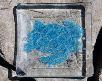 Sea Turtle Dish, Blue Bubble Turtle Fused Glass Dish, OOAK dish, Coastal Home Decor,