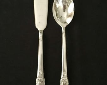 First Love Master Butter Knife and Sugar Spoon 2 Pc 1847 Rogers Bros International Silver Silverplate
