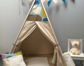 Tent Tepee together, toys and games, teepee, cabin, child toy, hiding, child teepee, tent, beige