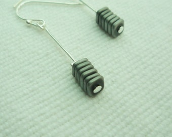 frost plated hematite earrings