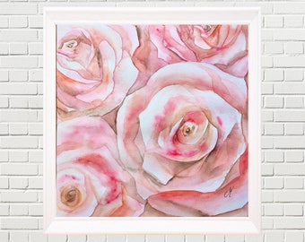 Pink roses Original watercolour painting Fine art Nature art Watercolour flowers Nature prints Wall art Home decor
