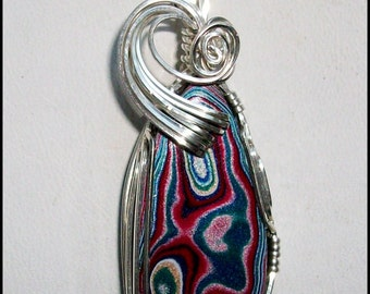 Original Fordite Pendant in Sterling Silver Wire
