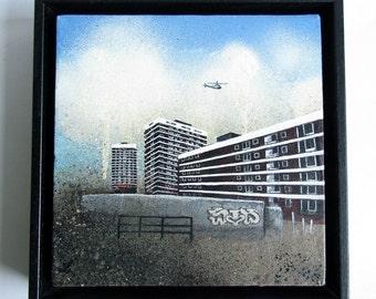 DE BEAUVOIR spraypaint & acrylic painting of De Beauvoir estate in North London, original artwork graffiti, framed in a black wood frame