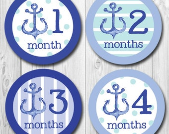 Baby Month Stickers Monthly Baby Stickers Milestone Stickers Baby Shower Gifts Anchor Month Stickers Monthly Bodysuit Stickers