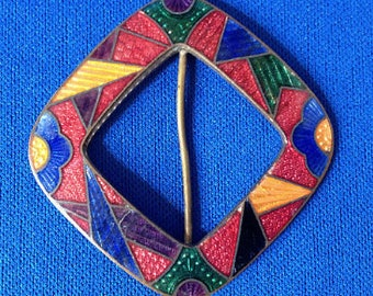1930s Jazz Age Art Deco Diamond Shaped Enamelled Buckle