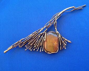 1960s Scandinavian Brass & Amber Flower Brooch