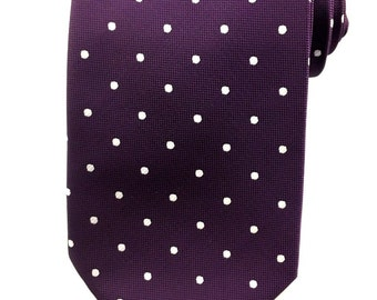 Purple with White Polka Dots Tie 8.5 cm Necktie. Party Tie. Casual Tie. Handmade Tie. Purple polka dots tie. Purple Tie