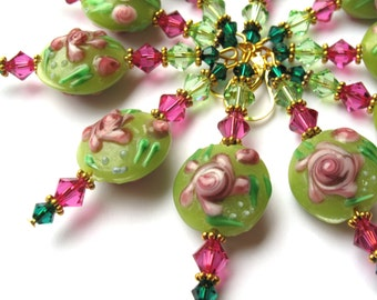 Shabby chic stacked earrings, lime green and hot pink flower, handmade lampwork