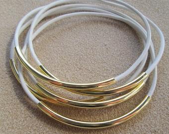 White Leather Tube Bracelets, Boho White Leather Bracelets for Women, Gold and White Leather Cord Bangles, Gold Tube Leather Bangle Set