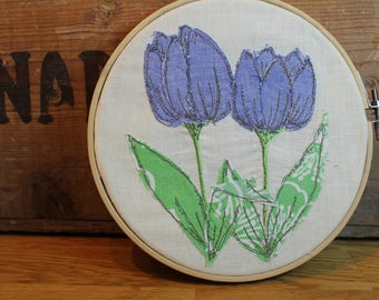 Fabric tulips, handmade textile art,