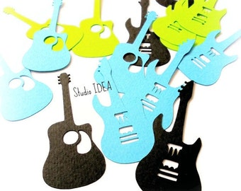 "Black, Blue, Green Electric & Classic Guitar Cut outs, Embellishments- 2.5"" Guitar Embellishments -or Choose Your Colors"