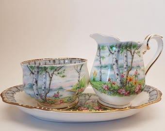 Royal Albert Silver Birch  Sugar Bowl and Creamer and Tray