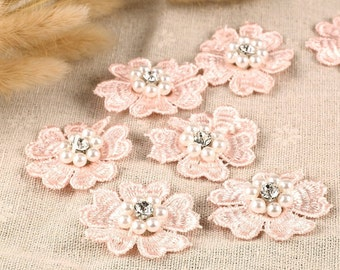 10 x Flower with Pearl & Diamante Centre 3D motifs 50mm, Sew On Stitching Fabric DIY Fashion