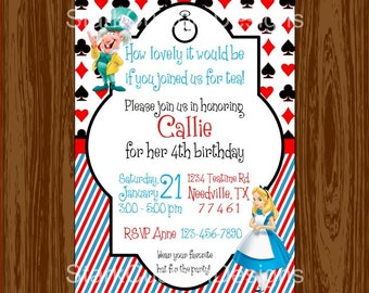 Alice in Wonderland Birthday - Mad Hatter Tea Party Invitation - Digital Party Invitation - Printable