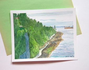 Stanley Park Vancouver Watercolor Art-Canadian landscape-original painting- seawall beach hill trees- green brown blue-Canada 150-wall décor